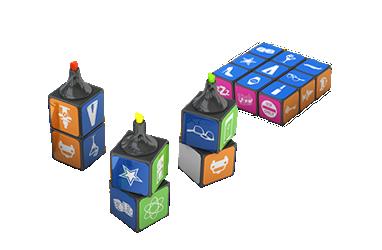 Set di evidenziatori magnetici Rubik